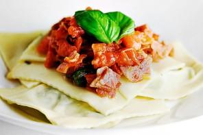 Arugula Goat Cheese Ravioli Tomato Pancetta Sauce