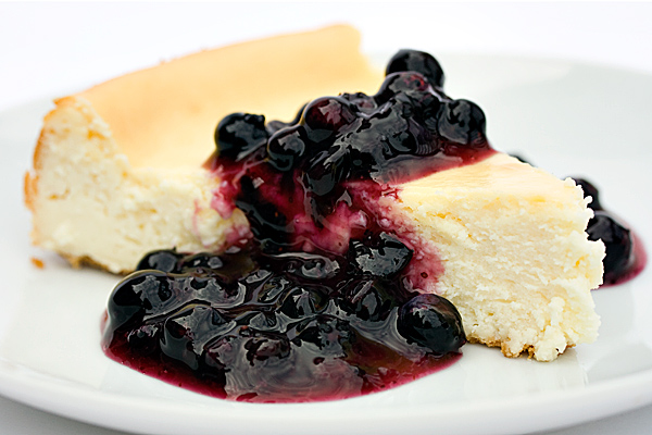 Classic Cheesecake with Blueberry Sauce