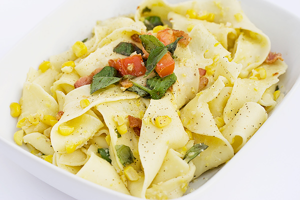 Tagliatelle Pasta with Fresh Corn Pesto Sauce - Seasons and Suppers