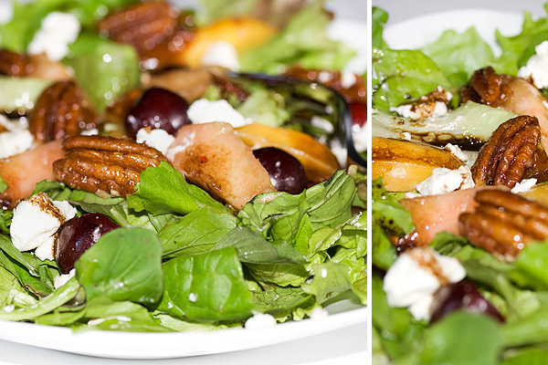 Balsamic Fresh Peach, Cherry, Arugula and Goat Cheese Salad with Candied Pecans