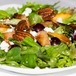 Balsamic Peach, Cherry, Arugula and Goat Cheese Salad