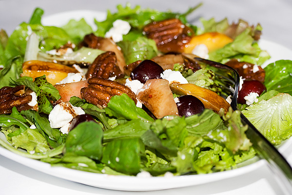 Peach, Cherry, Arugula and Goat Cheese Salad - Seasons and Suppers
