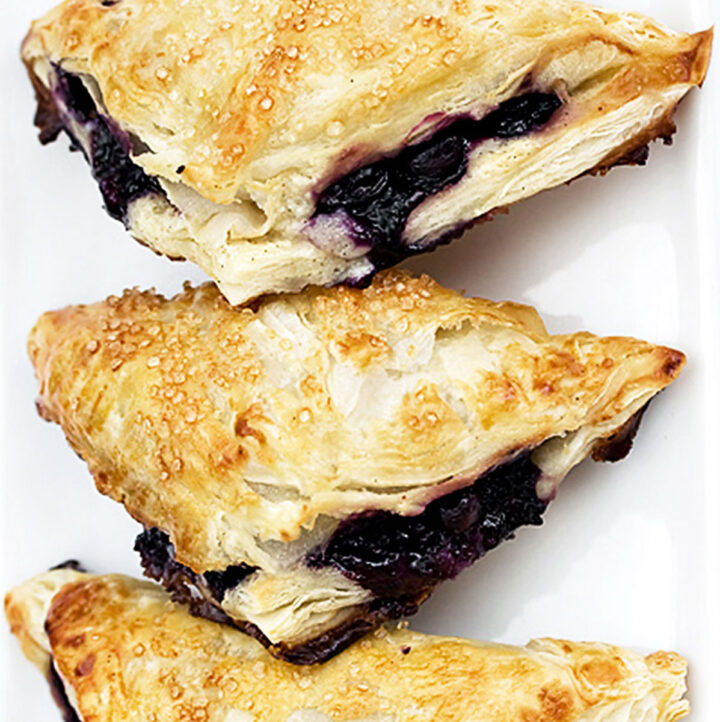 easy blueberry turnovers on parchment
