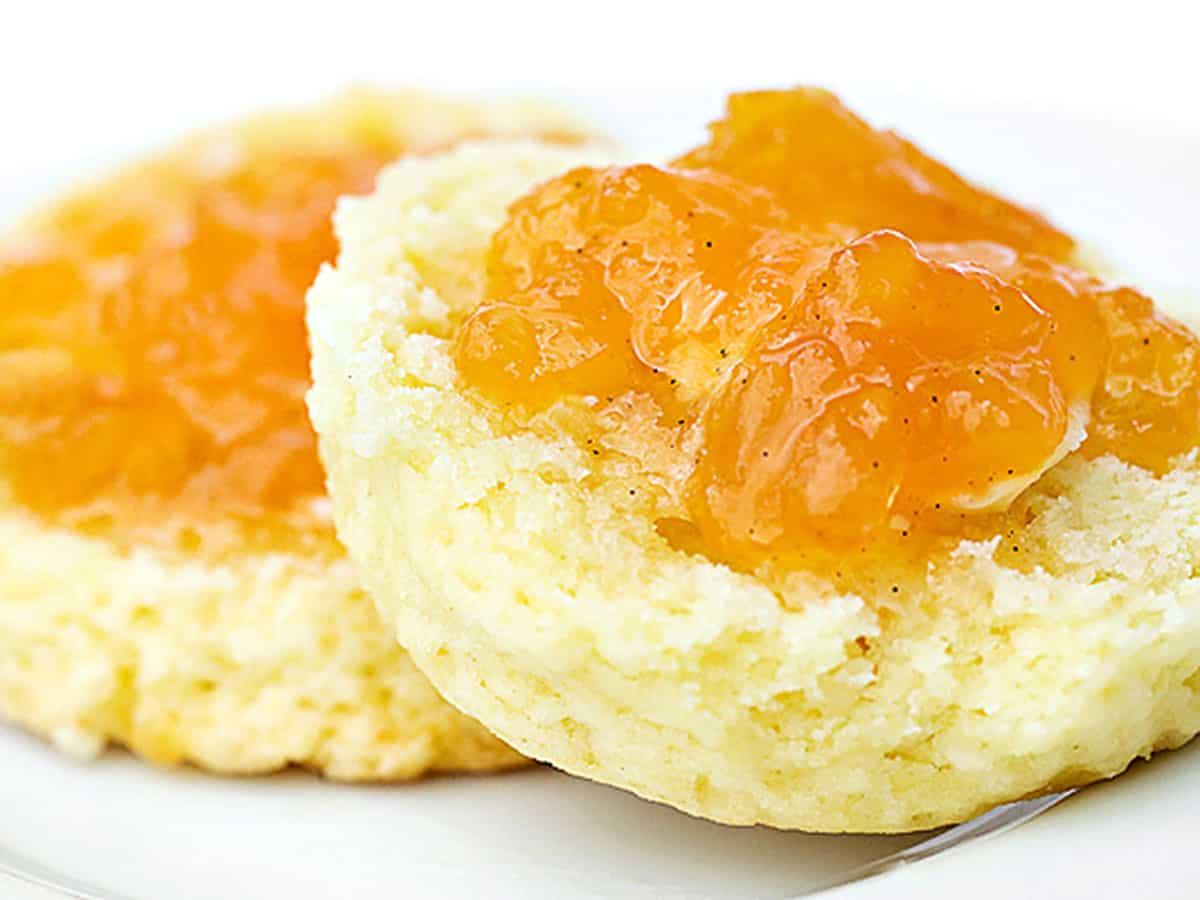 homemade peach jam on scone