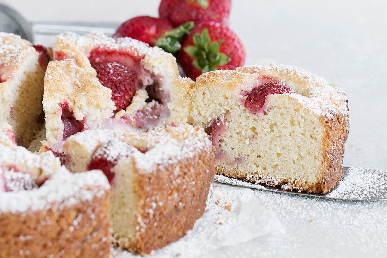 strawberry shortcake cake, sliced