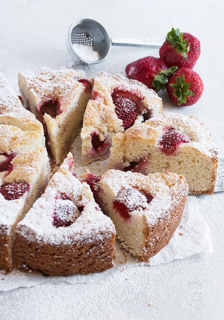 strawberry shortcake cake on parchment