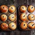 apple filled apple shaped buns in muffin tins