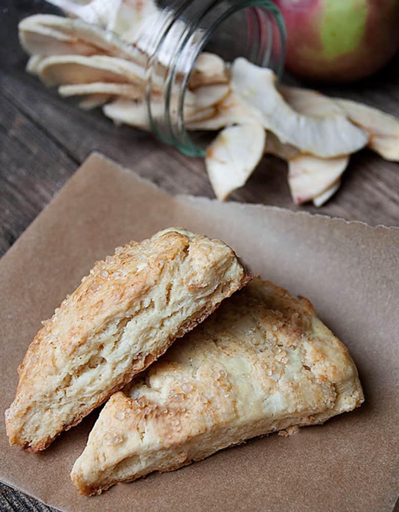 dried apple scones on parchment paper