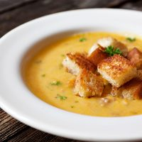 Roasted Butternut Chowder with Bacon Croutons