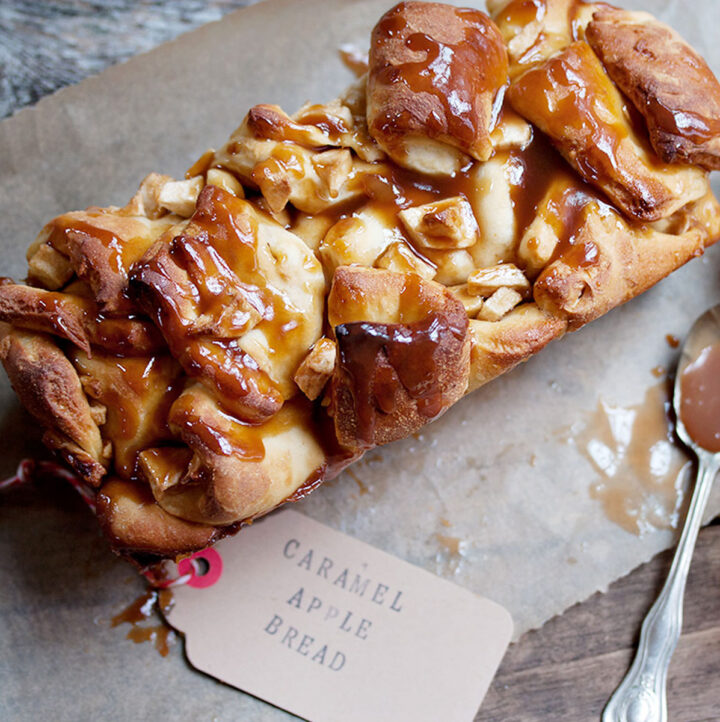 chopped apple yeast bread with caramel sauce