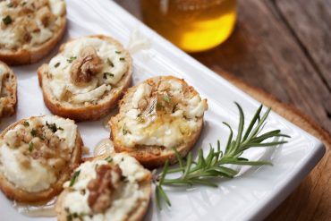 Goat Cheese, Walnut and Honey Crostini Appetizers