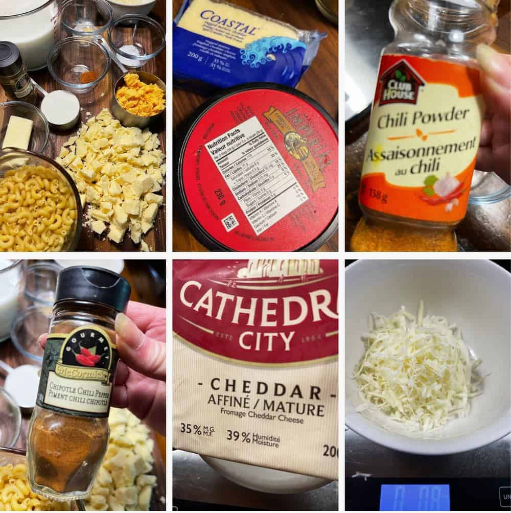 photo collage of ingredients for creamy mac and cheese