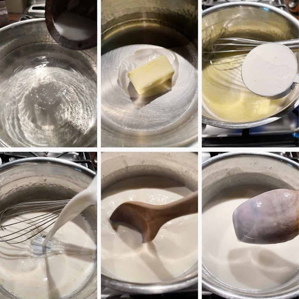 Photo collage of steps to make creamy mac and cheese 1