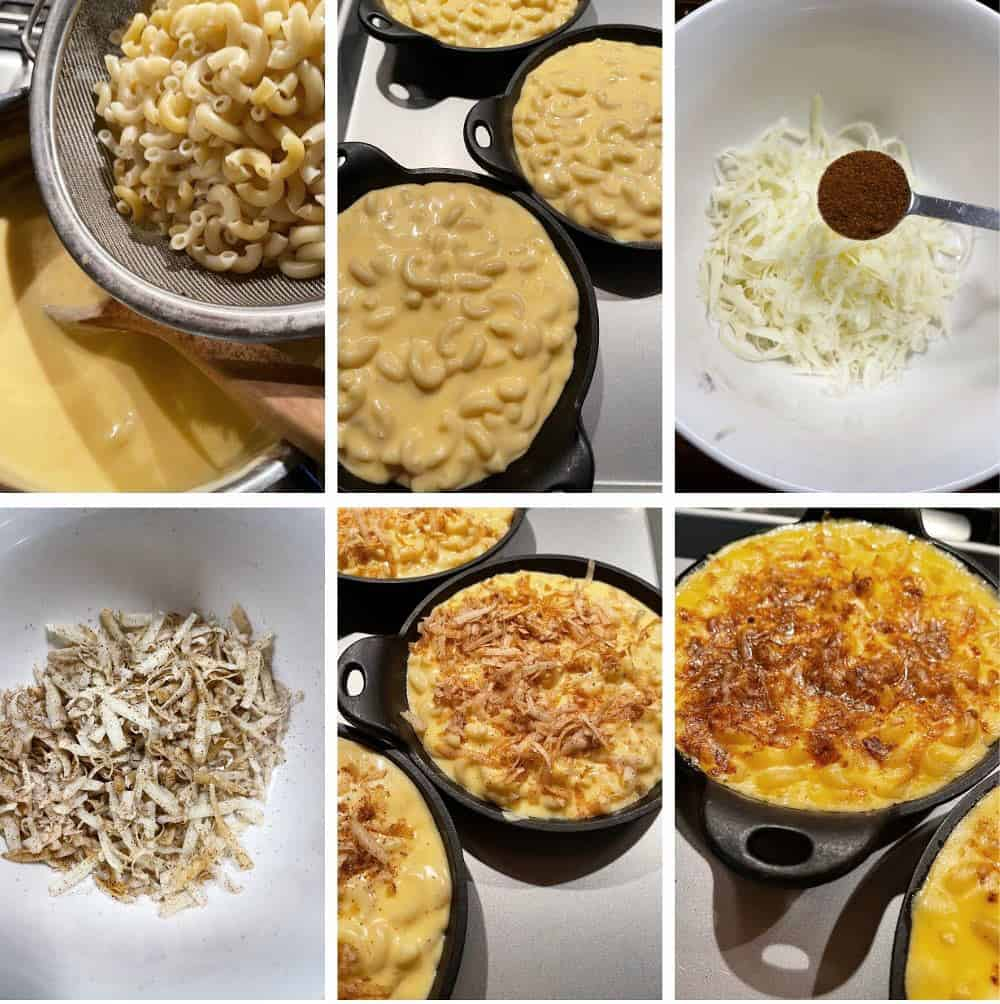 Photo collage of steps to make creamy mac and cheese 3