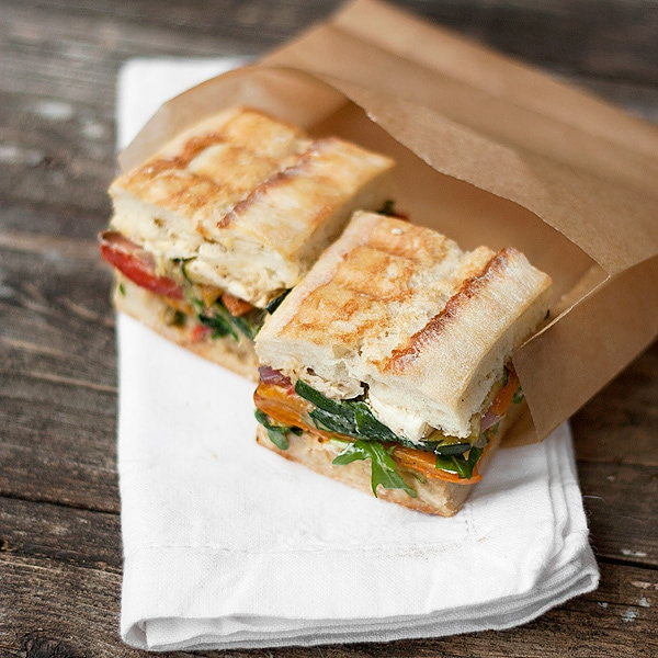 Pressed Roasted Vegetable Sandwich with Goat Cheese