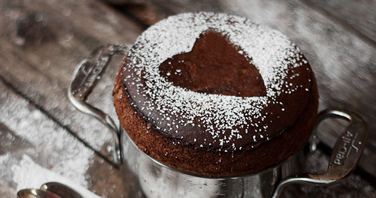 chocolate souffle with powdered sugar heart on top