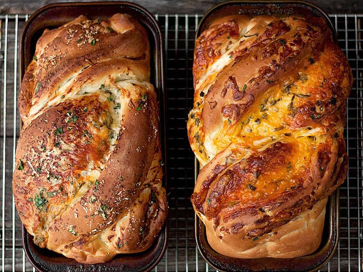 homemade cheese bread in loaf pans