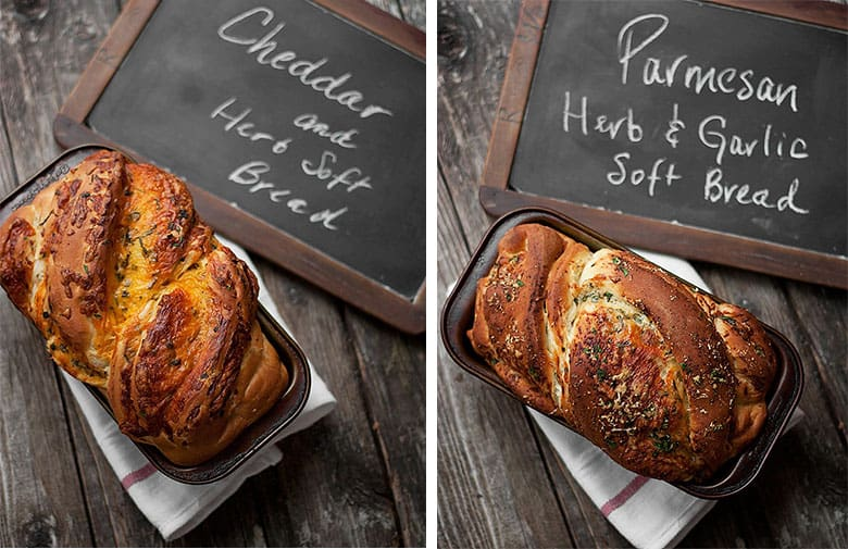 photo collage of two variations of homemade cheese bread