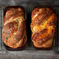 cheese bread loaves side by side