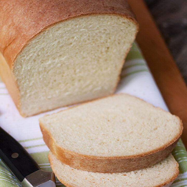 maple white sandwich bread on cutting board sliced