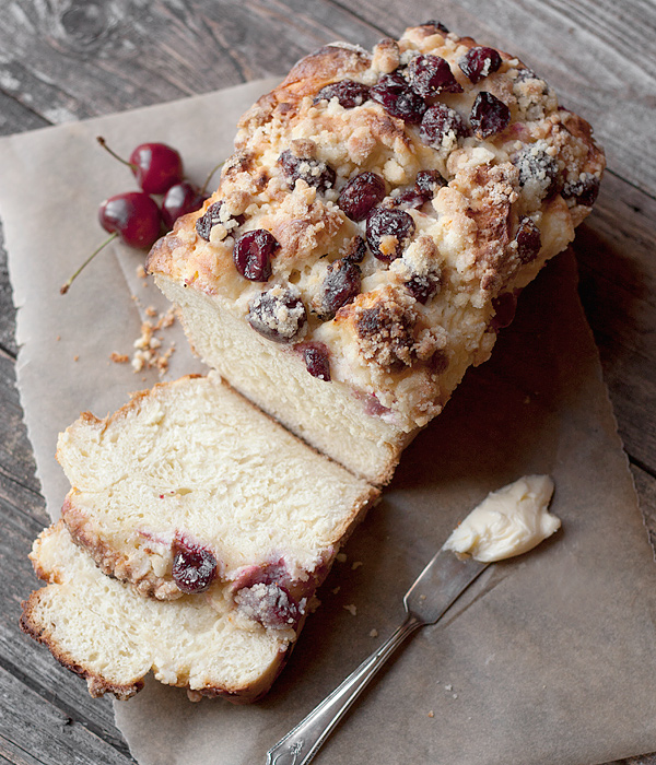 Fresh Cherry Yeast Bread with a Cream Cheese and Crumble Topping