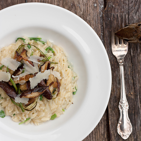 Orzo Risotto-style with Shitake Mushrooms and Garlic Scapes recipe