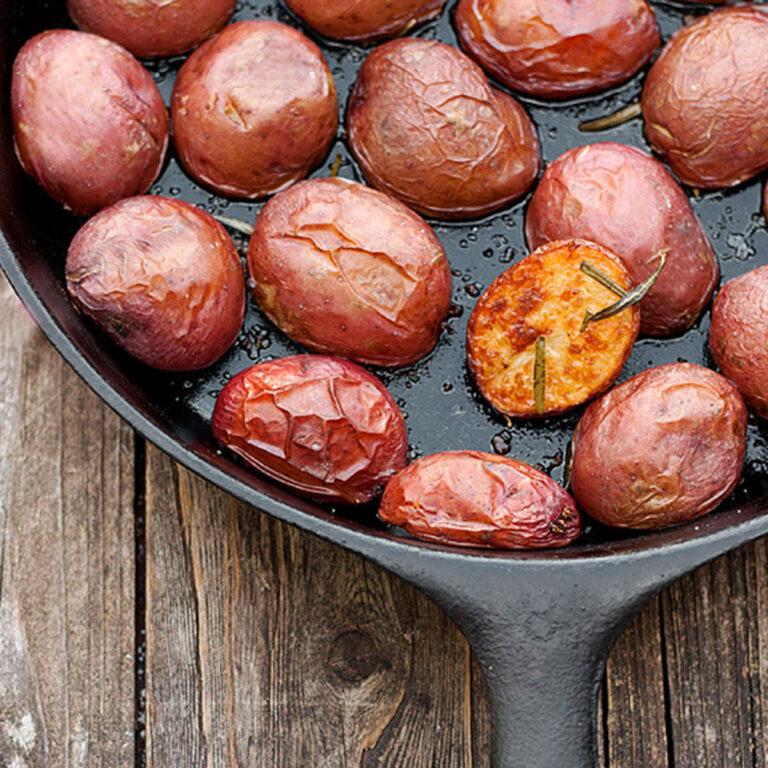 crispy skillet mini potatoes in cast iron skillet