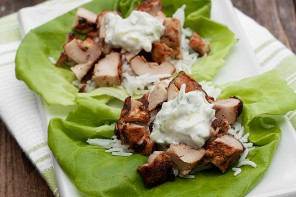 Grilled Tandoori Chicken Lettuce Wraps with Cucumber Raita