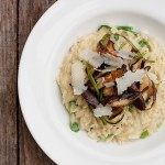 Orzo Cooked Risotto-style with Shitake Mushrooms and Garlic Scapes
