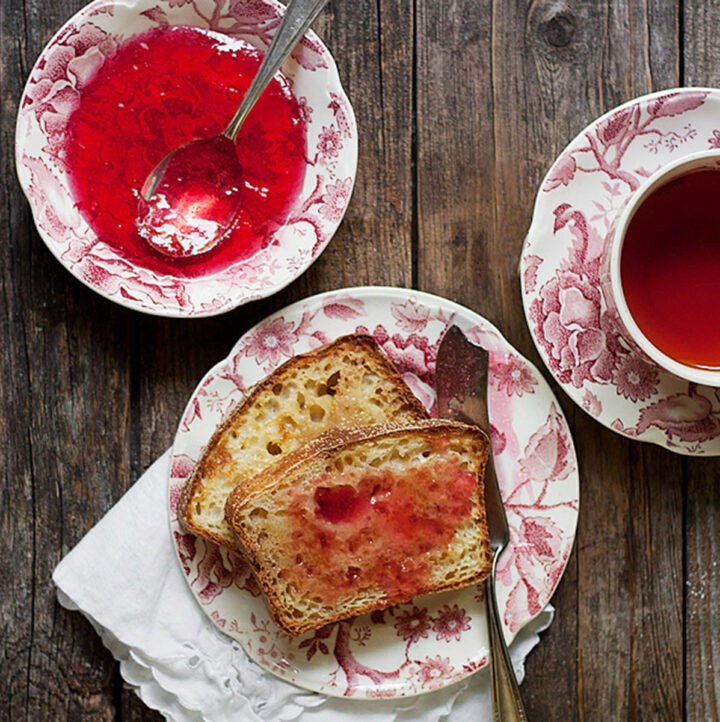 crabapple jelly in bowl with toast