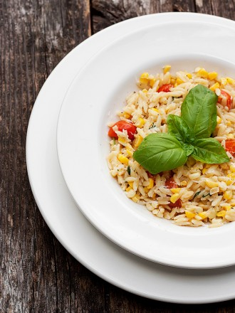 Orzo with Corn, Tomatoes and Basil