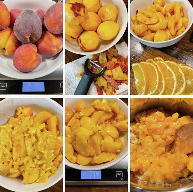 photo collage of steps to make peach marmalade