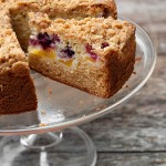 Peach berry streusel cake