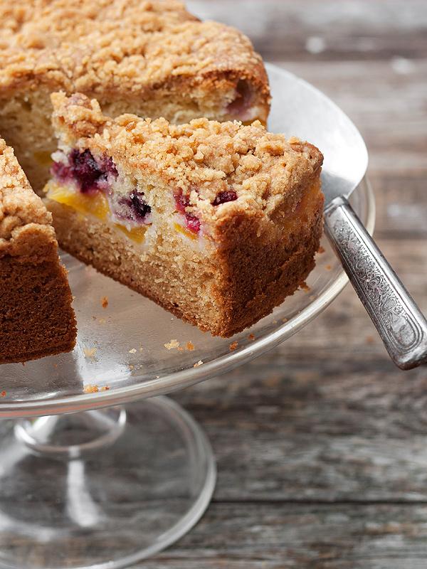 Peach, Raspberry and Blackberry Streusel Coffee Cake