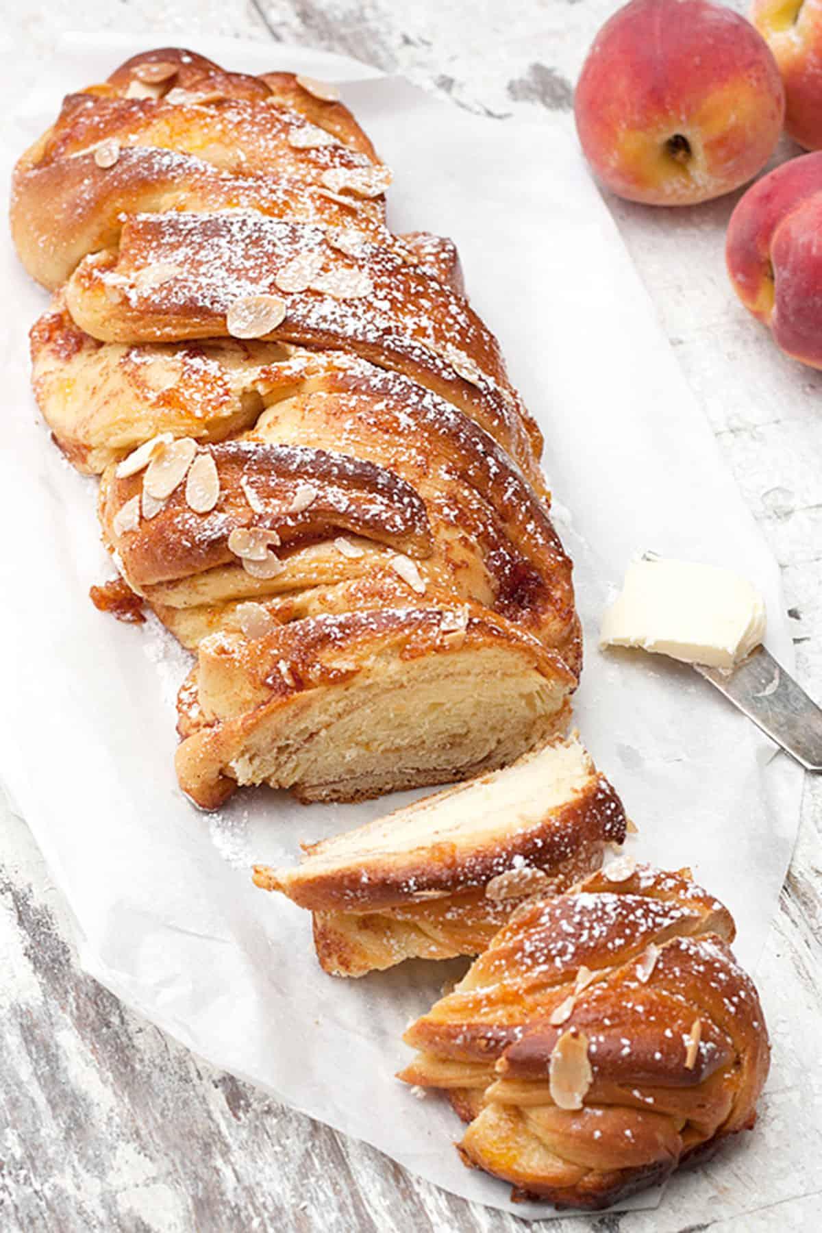 peach flip bread dusted with powdered sugar