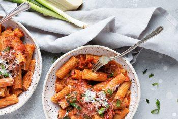 Rigatoni with Green Onions and Pancetta Tomato Sauce