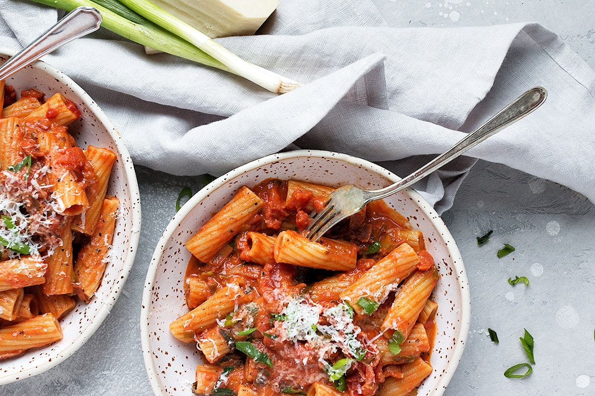 Rigatoni with Green Onions and Pancetta Tomato Sauce