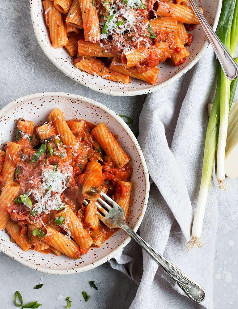 Rigatoni with Green Onion and Pancetta Tomato Sauce