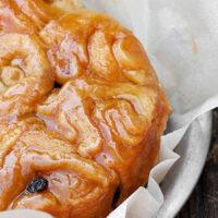 homemade honey buns in baking tray
