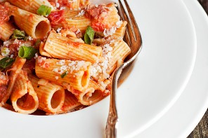 Rigatoni with Pancetta and Green Onion in Vodka Sauce