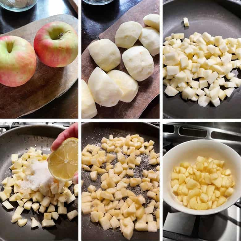 photo collage of steps to make apple fritters 2