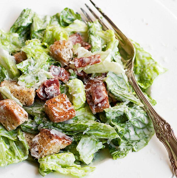 caesar salad with my best homemade caesar salad dressing