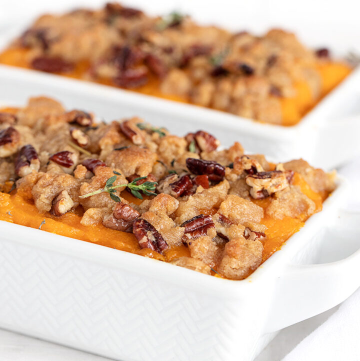 roasted butternut squash casserole in dishes