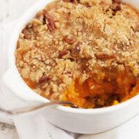 roasted butternut squash in small casserole dish
