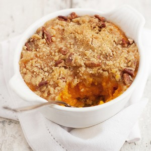 Roasted Butternut Squash Casserole with a Sweet and Crunchy Pecan Topping
