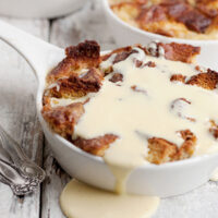 cinnamon bread pudding with creme anglaise