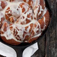cinnamon crunch bread in cast iron skillet