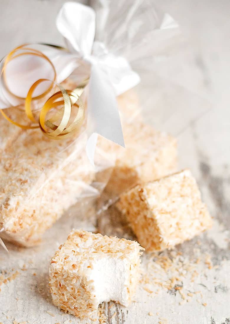 coconut marshmallows in plastic gift bag