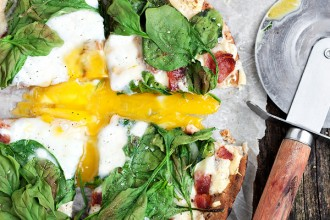 Fontina, Bacon and Spinach Breakfast Pita Pizza - - baked whole wheat pita, fontina cheese, bacon, spinach and egg.