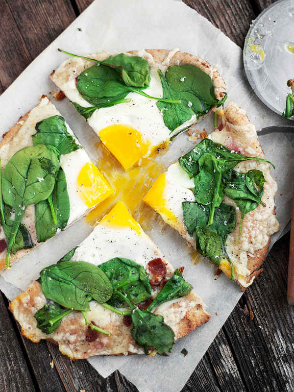 Fontina, Bacon and Spinach Breakfast Pita Pizza - baked whole wheat pita, fontina cheese, bacon, spinach and egg.